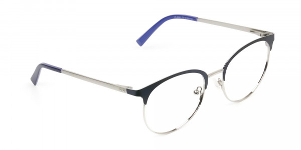 Round Navy Blue Silver Clubmaster Glasses - 2