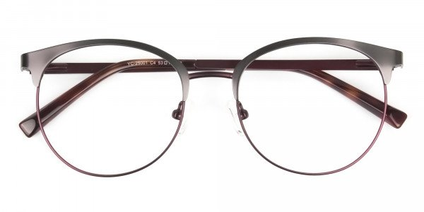 Brown & Gunmetal Clubmaster Glasses in Round - 6