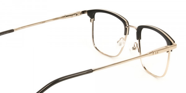 Shining Black and Gold Glasses in Browline Square - 5