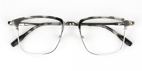 Grey Tortoise and Silver Glasses in Browline & Square  - 7
