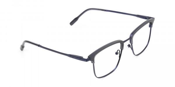 Navy Blue & Matt Black Glasses in Metal Browline & Square - 2