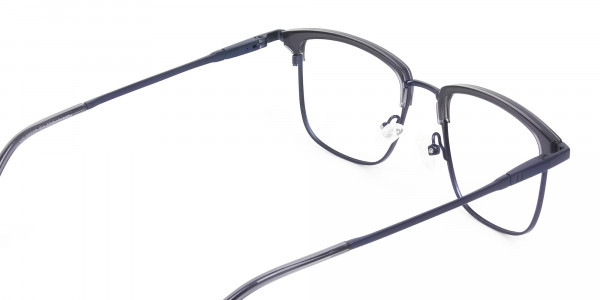 Navy Blue & Matt Black Glasses in Metal Browline & Square - 5