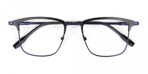 Navy Blue & Matt Black Glasses in Metal Browline & Square - 7