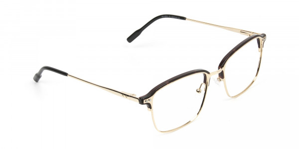 Rectangular & Browline Gold and Brown Frame Glasses - 2