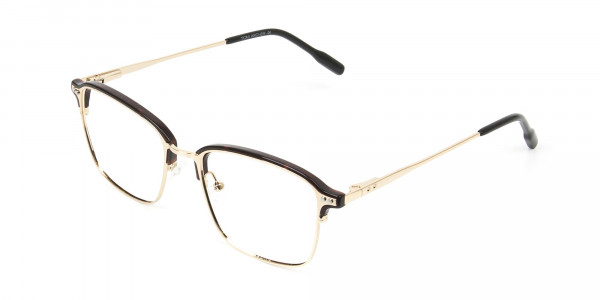 Rectangular & Browline Gold and Brown Frame Glasses - 3