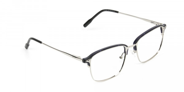 Rectangular & Browline Silver and Marble Blue Browline Glasses - 2