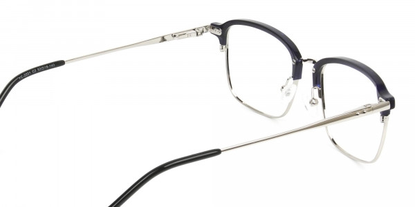 Rectangular & Browline Silver and Marble Blue Browline Glasses - 5