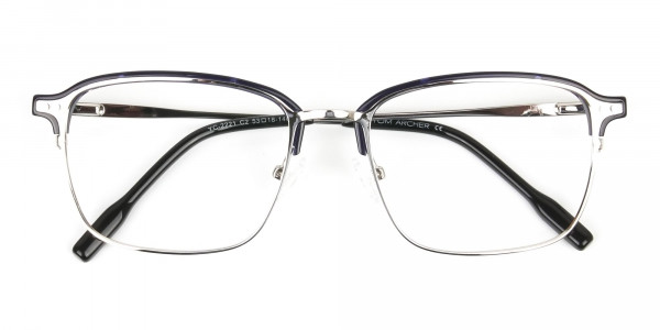 Rectangular & Browline Silver and Marble Blue Browline Glasses - 6