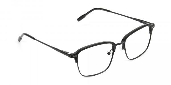 Retro Black Clubmaster Glasses in Rectangular - 2