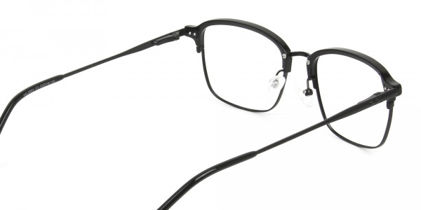 Retro Black Clubmaster Glasses in Rectangular - 5