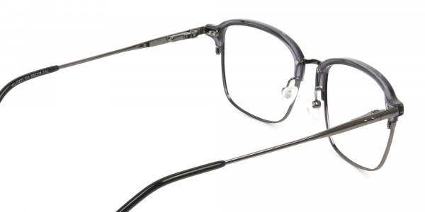 Gunmetal and Translucent Grey clubmaster glasses - 5