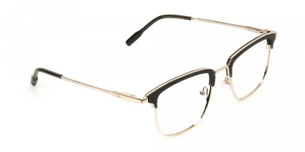 Shining Black and Gold Glasses in Browline Square - 2