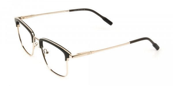 Shining Black and Gold Glasses in Browline Square - 3