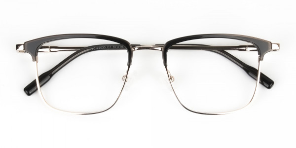 Shining Black and Gold Glasses in Browline Square - 7