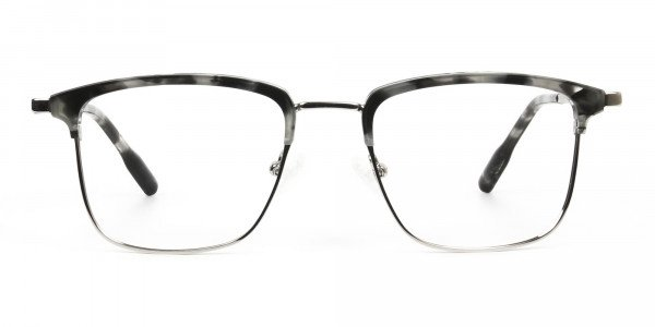 Grey Tortoise and Silver Glasses in Browline & Square - 1