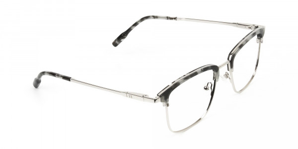 Grey Tortoise and Silver Glasses in Browline & Square - 2