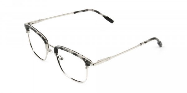 Grey Tortoise and Silver Glasses in Browline & Square  - 3