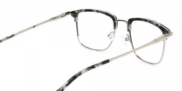 Grey Tortoise and Silver Glasses in Browline & Square  - 5