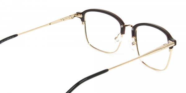 Rectangular & Browline Gold and Brown Frame Glasses - 5