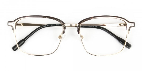 Rectangular & Browline Gold and Brown Frame Glasses - 6