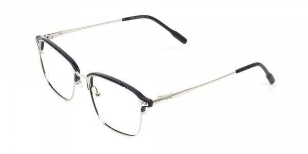 Rectangular & Browline Silver and Marble Blue Browline Glasses - 3