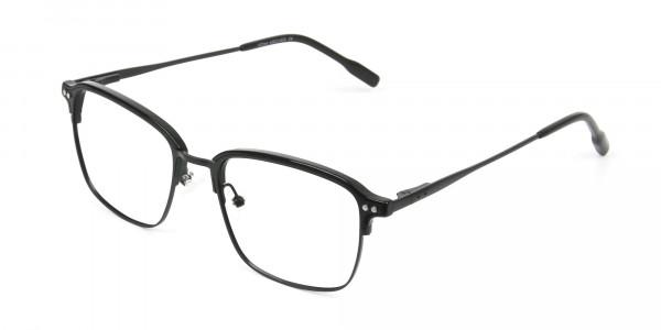 Retro Black Clubmaster Glasses in Rectangular - 3