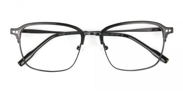 Retro Black Clubmaster Glasses in Rectangular - 6