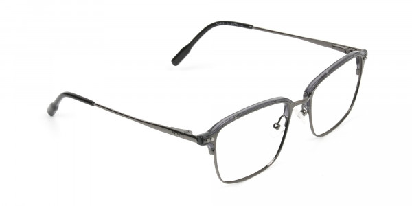 Gunmetal and Translucent Grey clubmaster glasses - 2