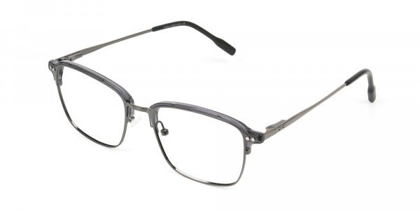 Gunmetal and Translucent Grey clubmaster glasses - 3