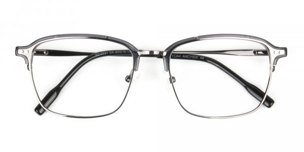Gunmetal and Translucent Grey clubmaster glasses - 6