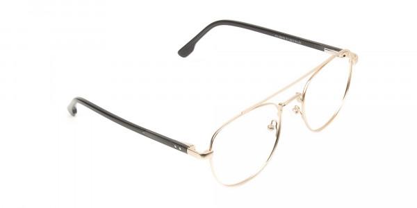 Black and Gold Wayfarer Aviator Glasses in Metal - 2