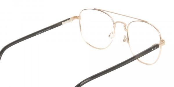 Black and Gold Wayfarer Aviator Glasses in Metal - 5