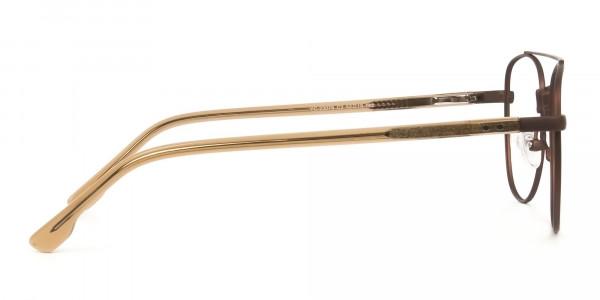 Honey Brown Aviator Wayfarer Glasses in Metal - 4