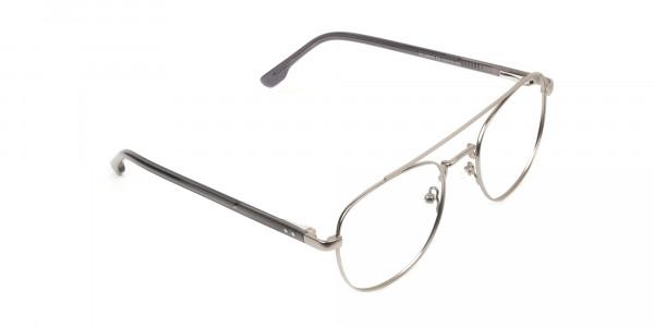 Gunmetal Dark Grey Aviator Wayfarer Glasses - 2