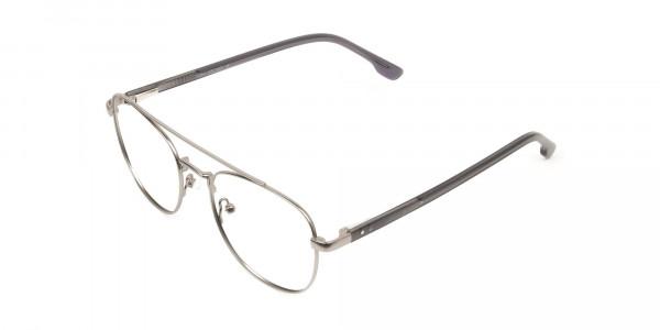 Gunmetal Dark Grey Aviator Wayfarer Glasses - 3