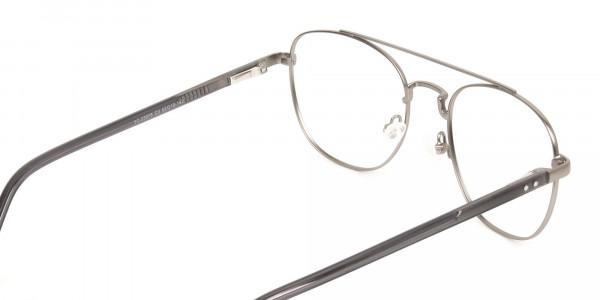 Gunmetal Dark Grey Aviator Wayfarer Glasses - 5