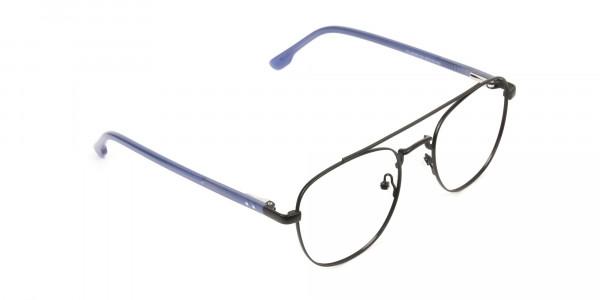 Black Aviator Wayfarer Glasses with Navy Blue Temple - 2
