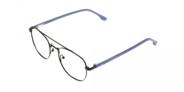 Black Aviator Wayfarer Glasses with Navy Blue Temple - 3