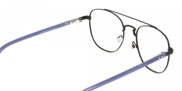 Black Aviator Wayfarer Glasses with Navy Blue Temple - 5