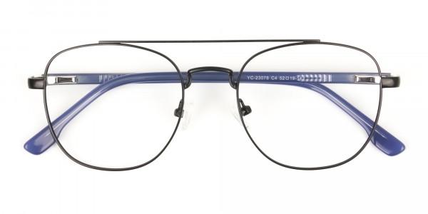 Black Aviator Wayfarer Glasses with Navy Blue Temple - 6