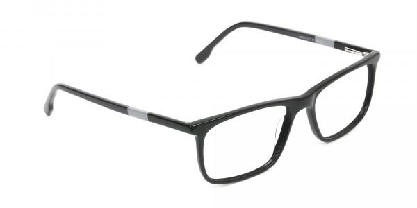 Black Acetate Spectacles in Rectangular - 2