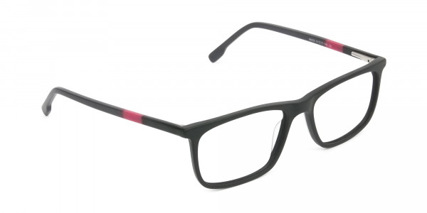 Matte Black & Red Acetate Spectacles - 2