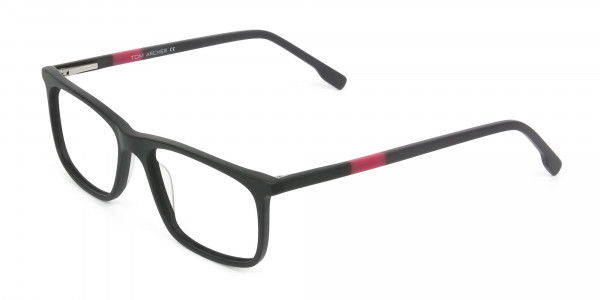 Matte Black & Red Acetate Spectacles - 3