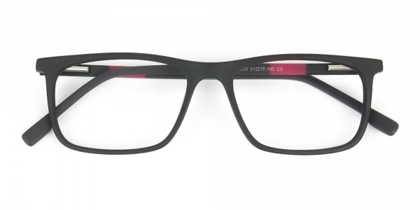 Matte Black & Red Acetate Spectacles - 6