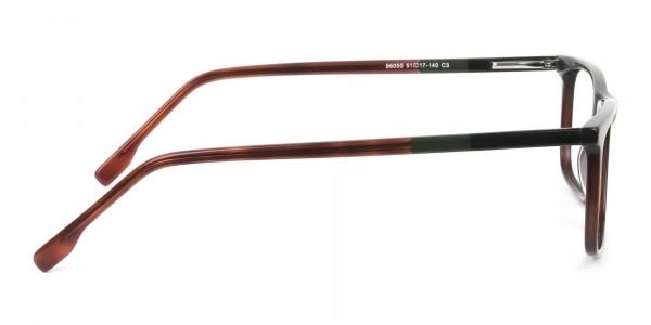 Dark Brown Acetate Spectacles in Rectangular - 4