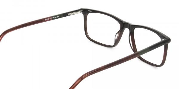 Dark Brown Acetate Spectacles in Rectangular - 5