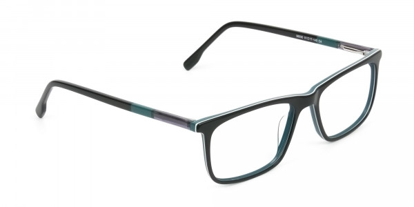 Black and Teal Spectacles in Rectangular - 2