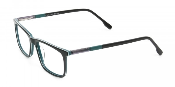 Black and Teal Spectacles in Rectangular - 3