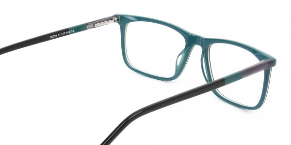 Black and Teal Spectacles in Rectangular - 5