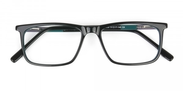 Black and Teal Spectacles in Rectangular - 6